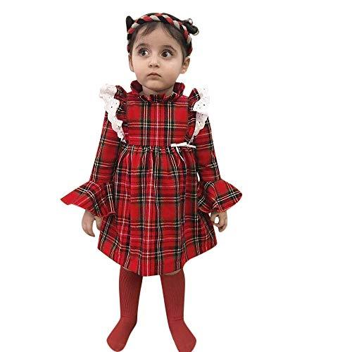 Oyedens Spitze Plaid Kleid Kinder Langarm Trompete ärmel Spitzenkleid Prinzessin Krabbeln Anzug Kleinkind Baby Mädchen Kariertes Outfit Kleider Kleidung (6M-3T