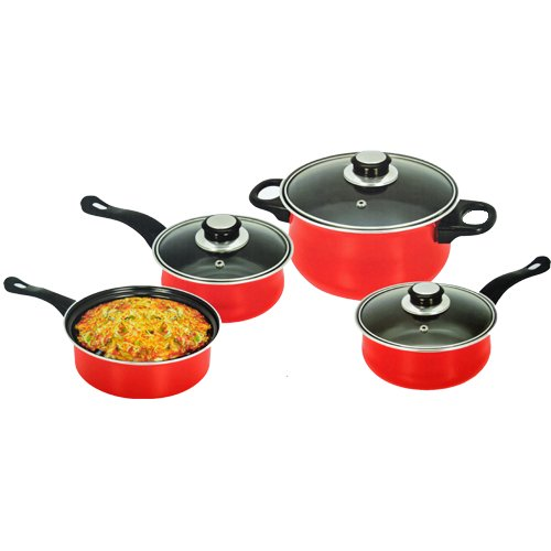 7PC COOKWARE SET STEEL NON STICK GLASS LID KITCHEN PAN POT SAUCEPAN NEW CARBON (RED)