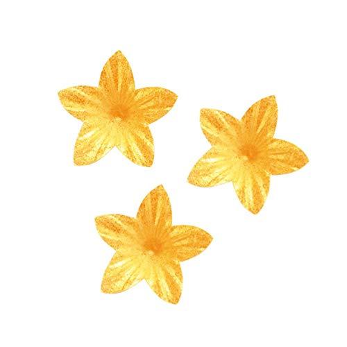 Packung mit 400 Lila Waffel Blumen Essbare Dekorationen für Kuchen, Pearly Gold - Lila Waffel