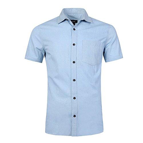 Nutexrol Herren Jeanshemden Kurzarmhemd Regular Fit Denim Shirt Cowboy-Style Freizeithemd Hellblau S