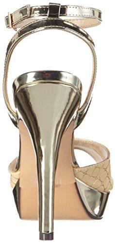 Menbur Olmo, Sandales Bride cheville femme Multicolore - Mehrfarbig (Beige/Gold)