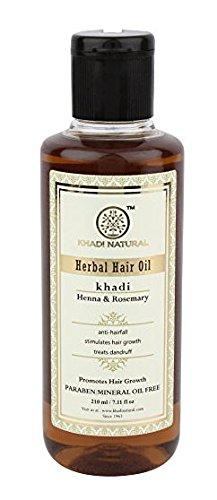 Natürliche Kräuter ayurvedischen Rosmarin und Henna-Haaröl (210 ml) - von Khadi Organic Natural -