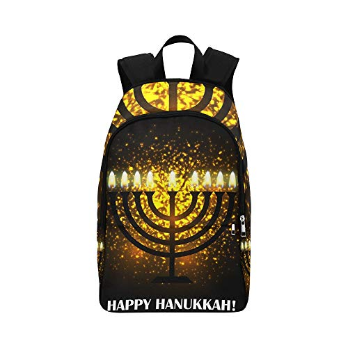 Hanukkah Grußkarte Menorah Traditionelle Kandelaber Lässige Daypack Reisetasche College School Rucksack Für Herren und Frauen -