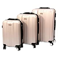 Discovery Smart Luggage Prestige with Built-in Scale & 100m Chip Tracker, 3 Piece Set - RA8690, Gold