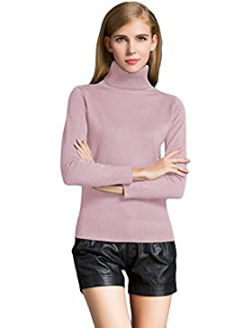 Romacci Moda de Invierno de Las Mujeres Suéter de Punto de la Tortuga Cuello de Manga Larga Ribbed Knitted Pullover...