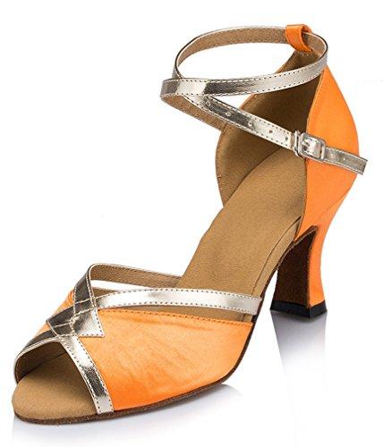 Honeystore Damen's starke Ferse Knöchelriemen Tanzschuhe Orange 35.5 EU (Rose Tanzschuhe Ray)
