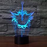 BFMBCHDJ Musikinstrumente 7 Farbwechsel Gitarre Modell 3D Nachtlampe LED Schreibtisch Tischlampe Neuheit Led 3D Nachtlicht Freund Geschenk