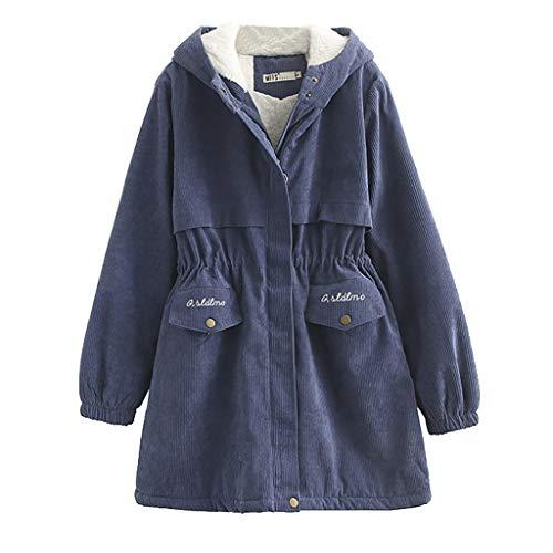 mxjeeio Damen Cord Jacke Damen Winter Jacke Steppjacke Mantel Übergangsjacke leichte Jacke gefüttert Reißverschluss und Samtjacke aus Baumwolle mit Kapuze (Cord-gefütterte Mantel)