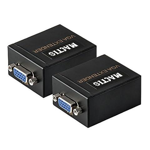 VGA Extenseur, MACTIS® VGA Vidéo Amplificateur Splitter sur Cat5e / 6 Câble Ethernet avec Audio Supporte jusqu'à 60m / 100M (197ft/60m, Émetteur +