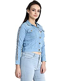 DIMPY GARMENTS BuyNewTrend Stone Wash Denim Blue Jacket for Women