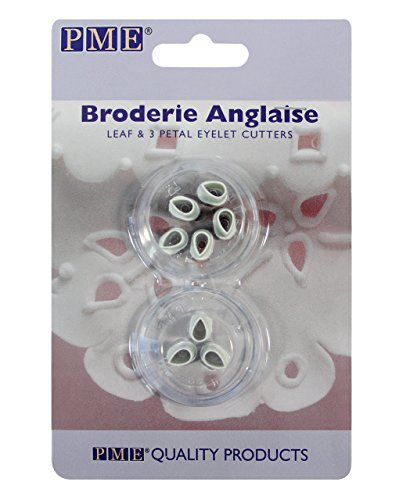 PME BA403 Lochstickerei-Ausstecher für 3 Blütenblätter im Stil Englische Stickerei, Sortiment, Kunststoff, Ivory, 2 x 2 x 1.5 cm, 2-teilig (Fabric Electric Cutter)