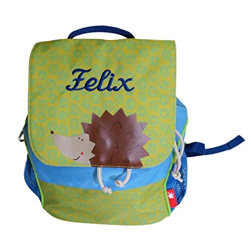Sigikid Kinder Rucksack Igel mit Namen bestickt grün blau 28 cm x 16 cm x 24 cm für Kindergarten Kita (Kinder Für Igel)