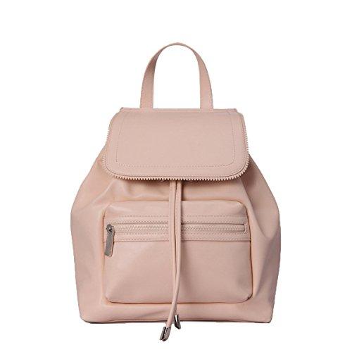 Frühling Kordelzug Rucksack Reißverschluss Portable Flip Umhängetasche Casual Handtaschen Für Mädchen,Pink-M (Kordelzug Textur)