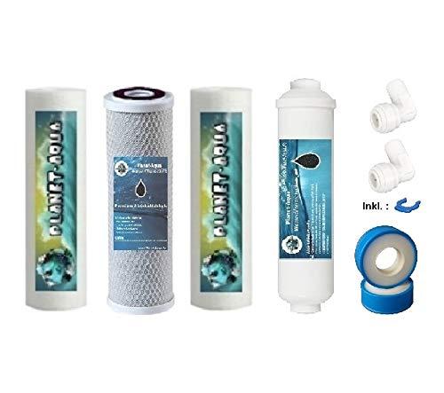 Planet-Aqua Osmose Ersatzfilter Set 10 Zoll inkl. Zubehör für Inline Nachfilter. Aktivkohle + Sediment Filterkartuschen Filterpatronen für Umkehrosmose Osmoseanlage Wasserfilter Filter