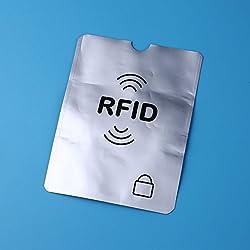 Hanbaili 1 Pcs Argent Debit Carte Protecteur Id Vol Protection Case, 13.5x10.5 cm Anti-Piratage Couverture De Protection Carte Pour Visa Bancaire RFID NFC