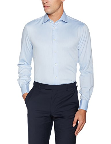 Tommy Hilfiger Tailored Herren Businesshemd Core Twill Double Cuff Shirt, Blau (410), 39
