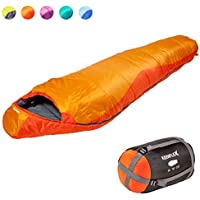 KeenFlex Mummy Sleeping Bag 3-4 Season Extra Warm & Lightweight Compact Waterproof Advanced Heat Control System – Ideal for Camping Backpacking Hiking Festivals – Compression Bag Included