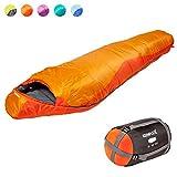 Keenflex – Sac de Couchage – 3 saisons chaud léger et compact étanche avancé Système de contrôle de la chaleur – Idéal pour le camping randonnée randonnée – Sac de compression inclus (Orange)
