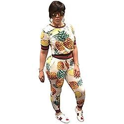 Top Corto de Manga Larga con Rayas de piña + Pantalones Largos Conjunto de Dos Piezas de Mujer (Color : White, tamaño : L)