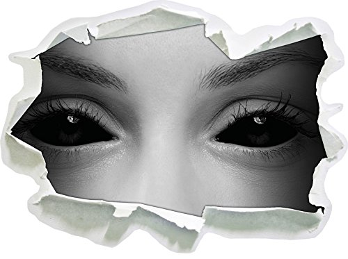 Böse Dämonenaugen B&W Detail Papier im 3D-Look, Wand- oder Türaufkleber Format: 92x67cm, Wandsticker, Wandtattoo, - Halloween-gemälde Vampir-gesicht