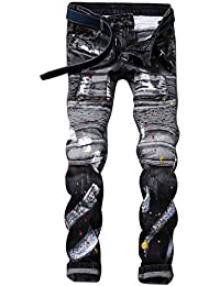 Yiiquan Hombre Clásico Pantalones Vaqueros Recto Slim Fit Skinny Elástico Jeans Motero Moderno DNNEB