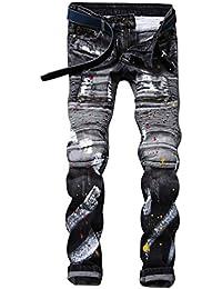 Yiiquan Hombre Clásico Pantalones Vaqueros Recto Slim Fit Skinny Elástico Jeans Motero Moderno