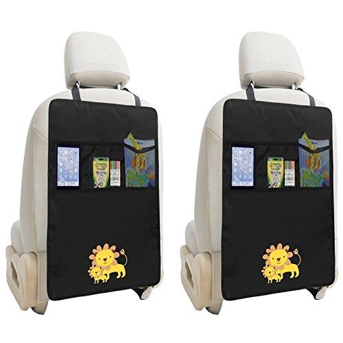 Zuoao 2 Stück Auto-Rückenlehnenschutz, Rückenlehnen Tasche Trittschutz mit Rücksitz-Organizer,Kinder Rücksitzschoner Kick-Matten-Schutz passend für die meisten den Autositz Schwarz,56.5 x 44cm Groß (Löwe)