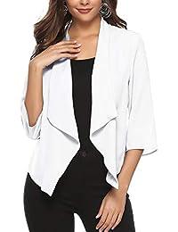628449907c02 Gilet Court Femme Blazer Boléro Cardigan Basic en Mousseline Veste de  Soiree Chic Gilet Noir Blanc