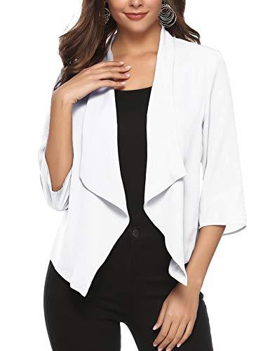 Weiß Chiffon-anzug (Abollria Damen Chiffon Cardigan Elegant Blazer Leicht Dünn Längere Bolero 3/4 Arm Offene Jacke Weiß)