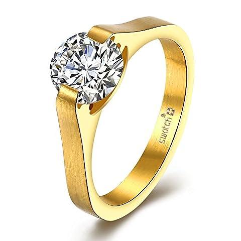 Amour Infini Femmes Bague de Fiançailles Alliance Mariage Anneau Anniversaire 316L Acier Inoxydable Zirconium Cubique Diamant Anneau Idée Cadeau, JST183-A-6-UK