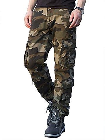 Cargohose Herren Arbeitshose Stretch cargo pants loose casual mit Mehrere Tasche Camouflage Sport,Arbeit,Freizeit,grün,54,XXL
