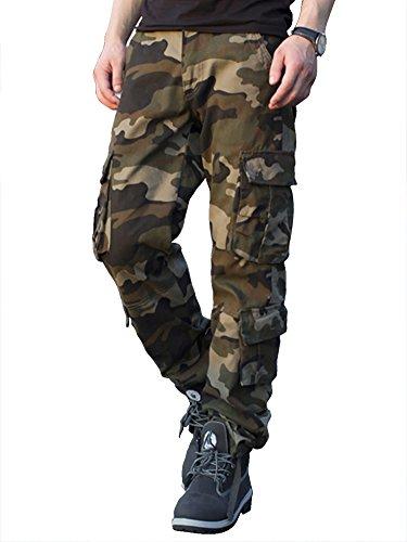 TAIPOVE Pantalones Cargo Largo Camuflaje para Hombre, Multibolsillos Laborales Casuales Suelto Algodón