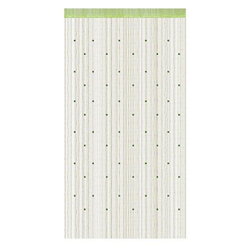 sourcingmap Fenster Tür Hängende Perle Dekor Fransen Vorhang Volant 100 x 200cm gelb grün de (Grüne Vorhänge Streifen)