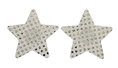Czj-Innovation 10 paires Pasties Paillette Jetable Nipple Cover Pentacle (Argent)