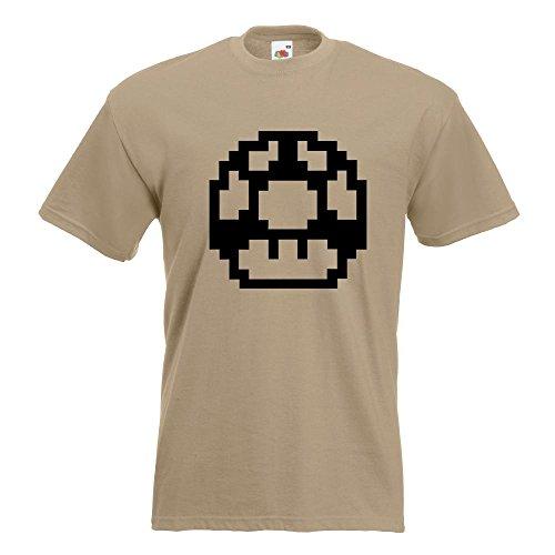 KIWISTAR - Pixel 1 Up Extraleben T-Shirt in 15 verschiedenen Farben - Herren Funshirt bedruckt Design Sprüche Spruch Motive Oberteil Baumwolle Print Größe S M L XL XXL Khaki