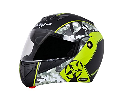 Vega Crux DX Full Face Helmet (Camouflage Dull Black and Neon Yellow, M)