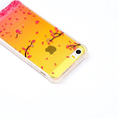Paillette Coque pour iPhone SE/5S,iPhone 5S Coque en Silicone Glitter, iPhone 5S Silicone Coque fleurs de cerisier roses Housse Transparent Etui Gel Slim Case Soft Gel Cover, Ukayfe Etui de Protection Cerise