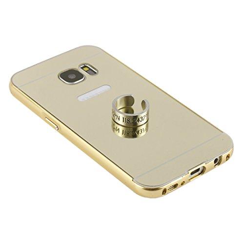 Galaxy S7 Detachable Spiegel Hülle,Asnlove 2 in 1 deckung extrem dünne Mirror Effect Back Cover Luxus PC Bumper Rahmen Case Electroplate Metall Aluminium Frame Hybrid Schutz Hülle Tasche Schutzhülle f Gold