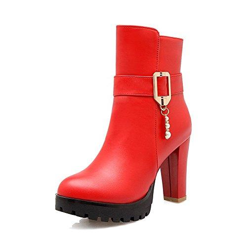 AgooLar Damen Niedrig Spitze Ziehen auf Mattglasbirne Hoher Absatz Rund Zehe Stiefel, Rot, 32