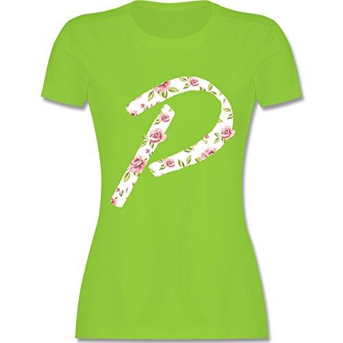 Anfangsbuchstaben - P Rosen - tailliertes Premium T-Shirt mit Rundhalsausschnitt für Damen Hellgrün