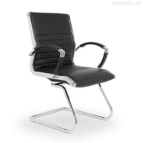 VERSEE Design Besucherstuhl Montreal -- Echt-Leder -- schwarz -- Konferenzstuhl, Freischwinger, Schwingstuhl, Meetingstuhl, Besprechungsstuhl, Bürodstuhl, mit Armlehnen, Ergonomisch, massives Metall-gestell in Chrom, niedrige Rückenlehne, Designklassiker, hochwertige Verarbeitung, Büro Sessel, 150 kg belastbarkeit