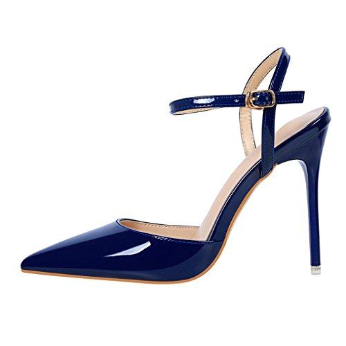 Oaleen Escarpins Femme Sexy Vernis Bride Cheville Talons Haut Aiguille Chaussures Soirée Bleu royal