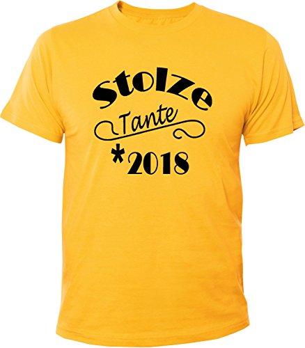 Mister Merchandise Herren Men T-Shirt Stolze Tante 2018 Tee Shirt bedruckt Gelb
