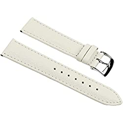 Eulit Fancy Classic Replacement Band Watch Band bovine Leather Strap creamwhite 25453S, width:16mm