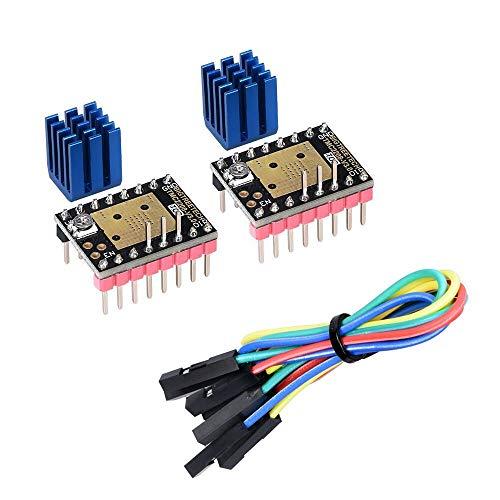 KINGPRINT TMC2208 V3.0 UART Modo de motor paso a paso con disipador de calor para SKR V1.3 MKS GEN L Ramps 1.4/1.5/1.6 Panel de control de impresora 3D (2 unidades)