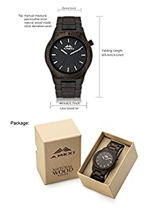 Amexi - Reloj de madera natural para hombre, color sándalo negro marca Amexicollection