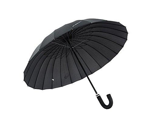 LYYUMBRELLAS ZHDC® Parapluie Adulte, Augmenter Coupe-Vent Grande Taille Manche Longue Protection Solaire Pluie Homme Parapluie Parasol (Couleur : Noir)