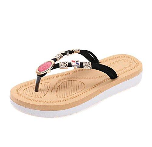Extremidade Com De Senhoras Flip O Mais Sapatos Lldmb Diamante Fundo Arrasta flop Palavra Femininos Da Confortável Mulheres Grossa Os Preto Toe Praia Espirituoso Macio E Chinelos wRR0fqXn
