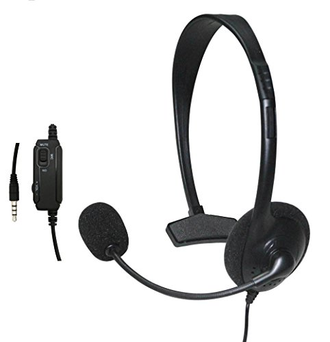 Gaming Headset Kopfhörer Headphones,Noise Cancelling Over Ear Ohrhörer mit Mikrofon Comfort Ultraleicht Faltbar Stereo Earphones mit 3,5 mm Klinke für Sony Playstation 4 PS4-Controller (Schwarz)