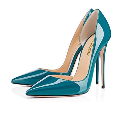 EDEFS Femmes Artisan Fashion Escarpins Classiques Pointus Des Couleurs Chaussures à talon haut 120MM Bleu Vert